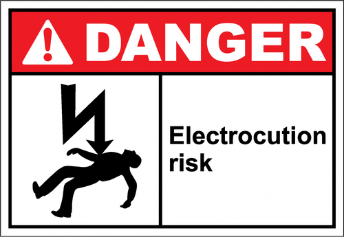 Electrocution risk - taken from: http://www.safetykore.com/danger-sign-electrocution-risk/